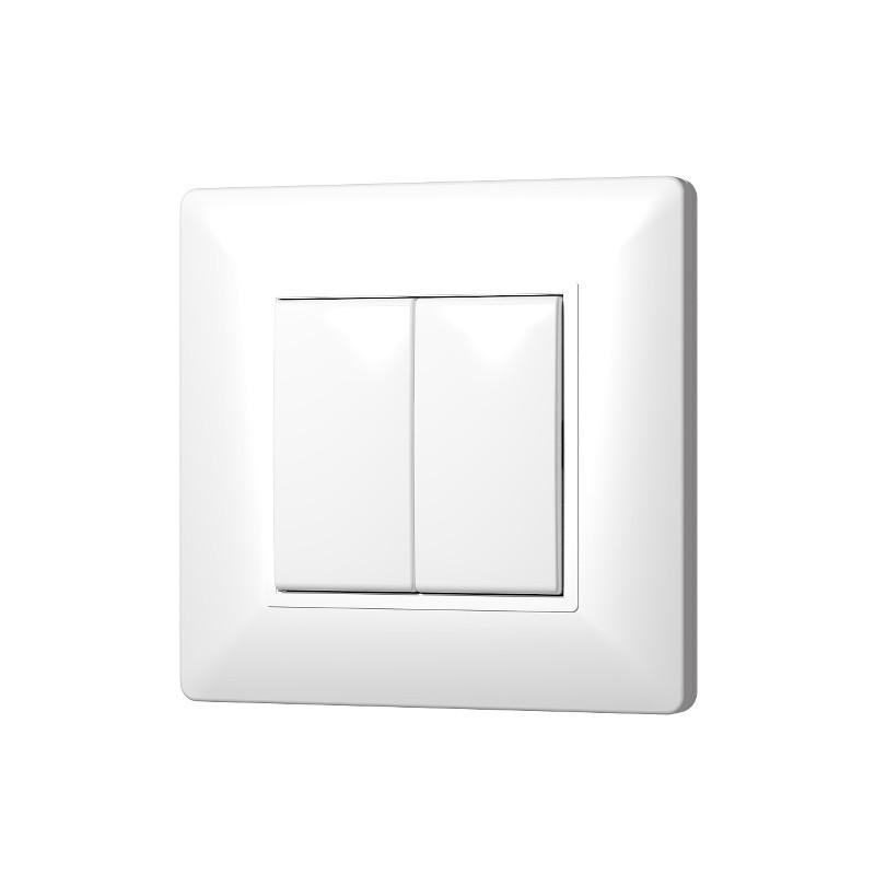 emetteur mural blanc complet plana enocean 2 touches. Black Bedroom Furniture Sets. Home Design Ideas